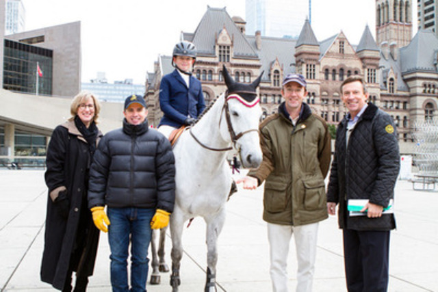 The Royal Agricultural Winter Fair executives Sandra Banks, John Dunlop, Paul Larmer, pictured here with Scott Walker, son Sam, and pony Flying Solo, bring country to the city this morning at Nathan Phillips Square (Photo credit: Mark Peachey, The Digitalist) (CNW Group/The Royal Agricultural Winter Fair)