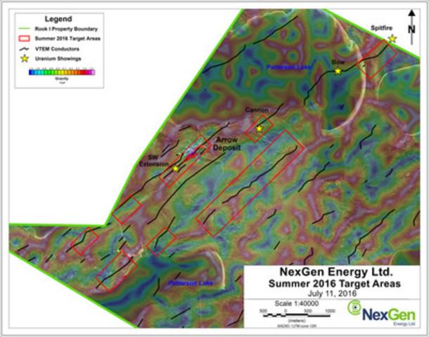 Figure 1: Summer 2016 Drill Target Areas (CNW Group/NexGen Energy Ltd.)
