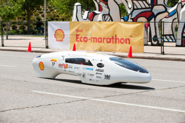 The student team from Universite Laval in Quebec City, shown here on the track, took first place at Shell Eco-marathon Americas 2011 with an astounding 2,564.8 miles per gallon - the record to beat on March 29 through April 1 at the 2012 event. (CNW Group/Shell Oil Company)