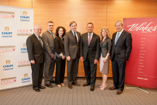John A. Rae, Chairman of the MUHC's Best Care for Life Campaign (CUSM); Alain Massicotte, Partner; Sophie Tremblay, Associate; Patrick Shea, Partner; Robert Torralbo, Montreal Office Managing Partner (Blakes); Irène Marcheterre, Chief of Staff and Director of Communications of the CHUM; Guy Savard, Chairman of the Fondation du CHUM Capital Campaign Cabinet (CNW Group/FONDATION DU CHUM)