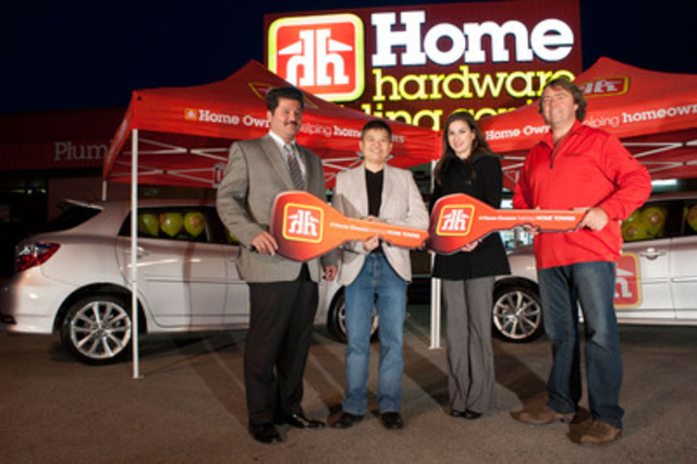Doug Plourde, Dealer-Owner, Metro Home Hardware Building Centre and Sam Tantsis, Marketing Consultant, Partnerships & Sponsorships, Toyota Canada Inc. present Melissa Heng, Winner and Dana Stanescu, Director, Marketing & Community Programs, Childhood Cancer Canada Foundation with brand new Toyota Matrix (CNW Group/Home Hardware Stores Limited)