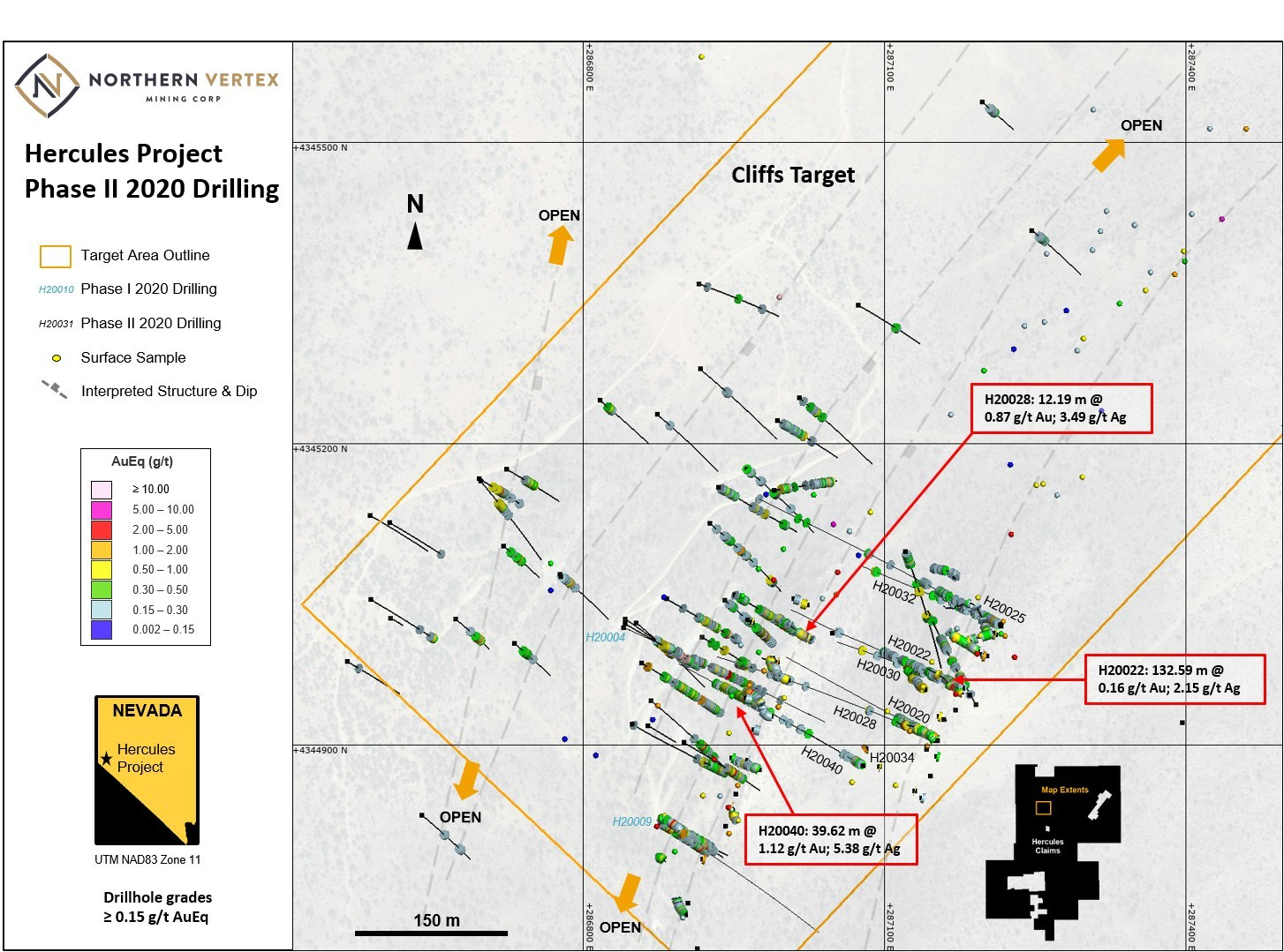 Figure 2. Plan view of Cliffs target drilling (CNW Group/Northern Vertex Mining Corp.)