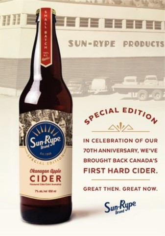 SunRype launches a special edition Okanagan Apple Cider to celebrate 70 years. (CNW Group/Sun-Rype Products Ltd.)