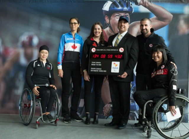 Rio 2016 Canadian Paralympic Team Chef de Mission Chantal Petitclerc and Rio hopefuls Cindy Ouellet (wheelchair basketball,) Nicole Clermont (cycling), Aurélie Rivard and Benoit Huot (swimming) presented a countdown clock to Dimitrios (Jim) Beis, Montreal's borough Mayor and member of the Executive Committee responsible for procurement, sports, leisure and communities of diverse origins. (CNW Group/Canadian Paralympic Committee (CPC))