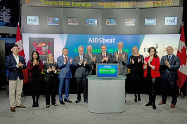 Members of the legal community joined Tanya Rowntree, Vice-President, Regional Sales, TMX Equity Transfer Services to open the market to raise awareness of the 20th annual AIDSbeat charity concert. Presented by Toronto's legal community, AIDSbeat brings together 1,700 legal professionals from over 50 Toronto law firms for a rock and roll extravaganza that has become a social highlight of the legal community for more than 18 years. Over 90 cents of every dollar raised goes to support the Canadian Foundation for AIDS Research. This year's AIDSbeat Rock & Roll will be held on October 23th at Liberty Grand. For more information please visit www.aidsbeat.com. (CNW Group/TMX Group Limited)