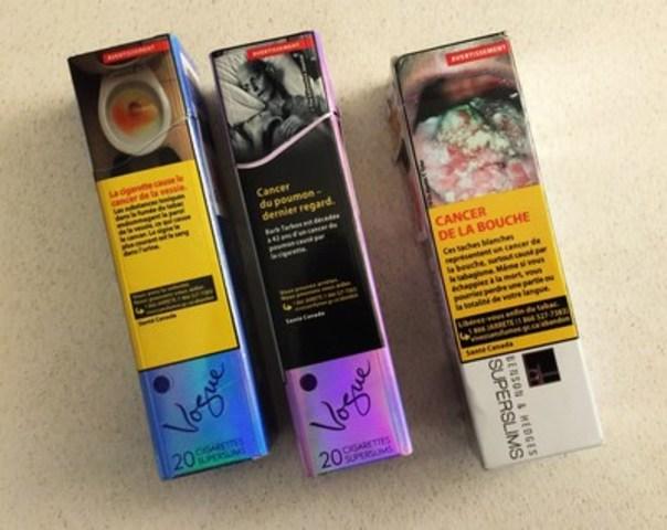 Paquets de cigarettes de marque Vogue SuperSlims vendus au Canada, dont le format sera bientôt interdit au Québec. Photo libre de tout droit d'auteur. (Groupe CNW/Coalition québécoise pour le contrôle du tabac)