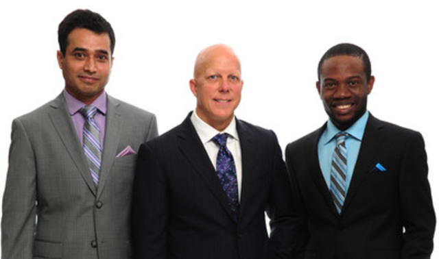 Moores' Canadian Suit Drive recipients Mahmud, Eric and Chris. (CNW Group/Moores Clothing For Men c/o MW Media Group)