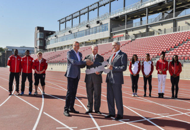 Today marked the official handover of the CIBC Pan Am/Parapan Athletics Stadium as Saӓd Rafi, CEO, TORONTO 2015 Pan Am/Parapan Am Organizing Committee and The Honourable Mario Sergio, MPP, York West handed over a ceremonial key to Mamdouh Shoukri, President and Vice Chancellor, York University as Athletics Canada and York University varsity track & field athletes looked on. (CNW Group/Toronto 2015 Pan/Parapan American Games)