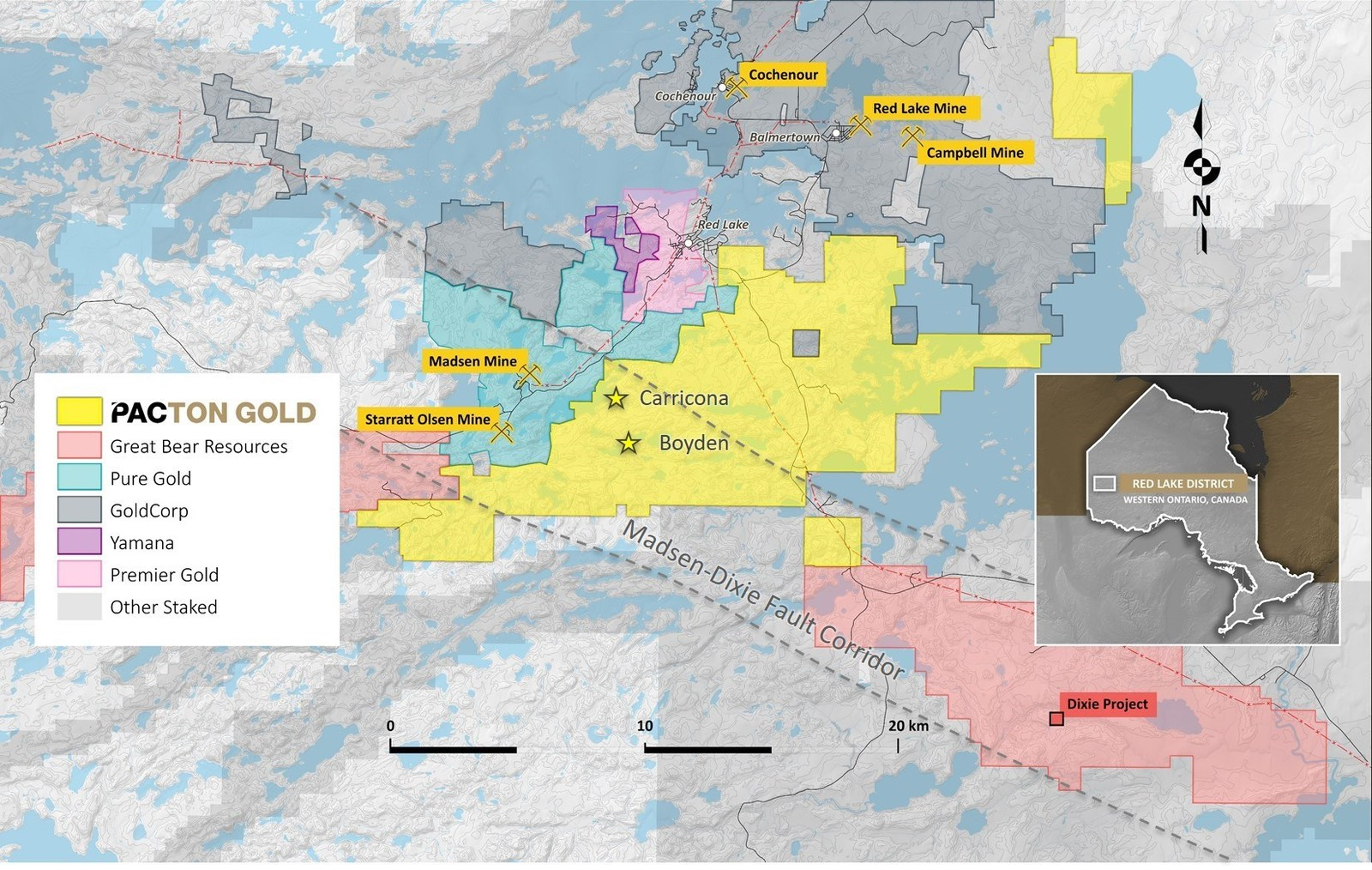 Figure 2. Pacton Gold's Red Lake Gold Project claim map showing other active projects and the Madsen-Dixie fault corridor.
