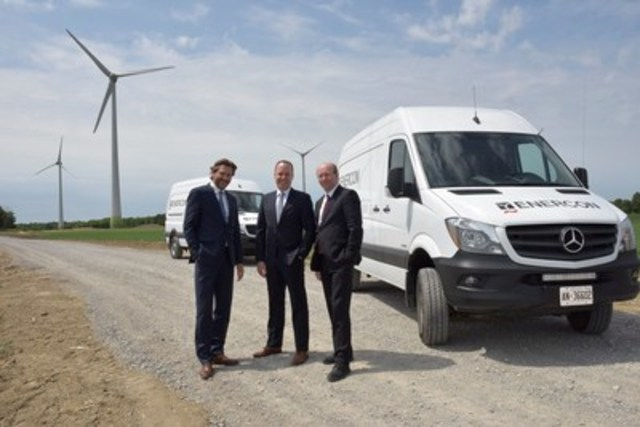 Michael Weidemann, Executive VP of ENERCON Canada, Hans-Jörg Mehl, VP and CFO of Mercedes-Benz Canada, and Volker Kendziorra, Global Head of Service of ENERCON, gathered in Smithville, Ontario today to officially celebrate the beginning of a Canadian partnership that saw 20 Mercedes-Benz Sprinter 4x4s added to the fleet of service vehicles that support ENERCON's wind farms across the country. (CNW Group/Mercedes-Benz Canada Inc.)