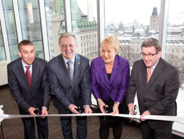 Nicolas Marceau, Finance and Economy Minister, René Rouleau, Chairman of the Board and Chief Executive Officer of La Capitale Financial Group, Pauline Marois, Premier of Quebec and, Régis Labeaume, mayor of Quebec City. (CNW Group/La Capitale Financial Group Inc.)