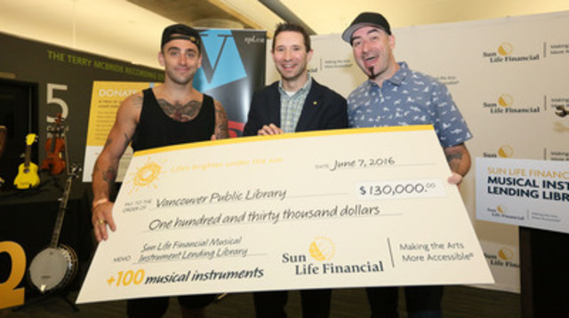 Hedley's Jacob Hoggard and Tommy Mac help to kick off the Sun Life Financial Musical Instrument Lending Library in Vancouver, BC. (CNW Group/Sun Life Financial Canada)