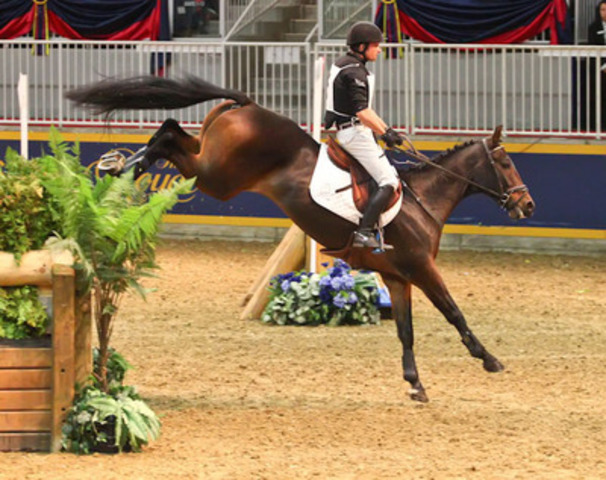 Waylon Roberts and his mount Bill Owen pulled out all the stops to come from behind and win the Horseware Indoor Eventing title for an incredible seventh time (CNW Group/Royal Agricultural Winter Fair)