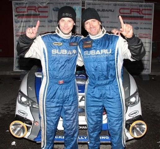 L'Équipe canadienne de rallye Subaru remporte le Pacific Forest Rally 2015 à bord de sa Subaru WRX STI préparée par Rocket Rally. ©2015 Rocket Rally Racing par Philip Ericksen/Radikal Videos (Groupe CNW/Subaru Canada Inc.)