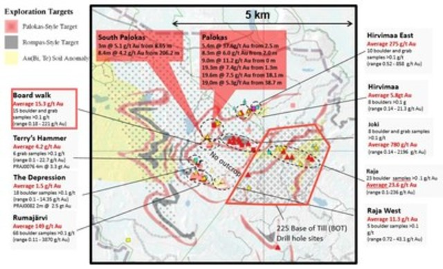 Figure 1: Plan view of the Rajapalot area, Finland showing mineralized trends and prospects, surface samples and BOT drill area. (CNW Group/Mawson Resources Ltd.)
