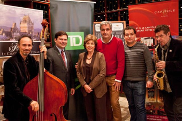 Le mercredi 19 septembre avait lieu le lancement de la programmation du Festival de jazz de Québec (FJQ). Sur la photo, deux musiciens sont accompagnés de (gauche à droite), M. Chris Leier, TD Canada Trust, Mme Renée Hudon, présidente d'honneur, M. Gino Ste-Marie, président fondateur et M. Simon Couillard également du FJQ. (Groupe CNW/Festival de jazz de Québec)