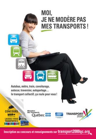 La Campagne nationale de promotion des transports collectifs de Transport 2000 et de ses partenaires se déroule du 7 au 28 février 2013. Elle invite les québécois à découvrir et essayer les différents modes de transport et à s'inscrire sur le site www.transport2000qc.org pour gagner des prix. (Groupe CNW/TRANSPORT 2000 QUEBEC)