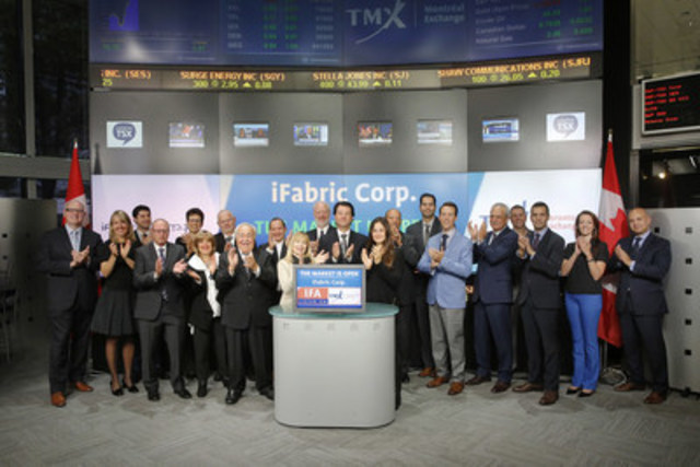 Hylton Karon, President & CEO, iFabric Corp.(IFA) joined Richard Rohan, VP Corporate Sale,  TMX Equity Transfer Services to open the market. iFabric is a fabric technology company that focuses on socially responsible fabrics for apparel. iFabric has two divisions; Intelligent Fabric Technologies (North America) Inc. which is focused on proprietary chemical formulations that render fabrics, foams and numerous other surfaces and Coconut Grove Intimates that is a designer, manufacturer, distributor, licensor and licensee of ladies' apparel. iFabric Corp. graduated from TSX Venture Exchange to Toronto Stock Exchange on September 18, 2015. For more information please visit www.ifabriccorp.com. (CNW Group/TMX Group Limited)