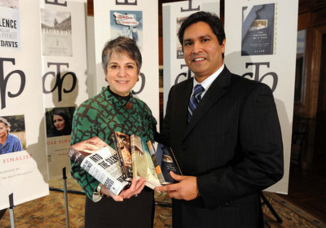 This morning Noreen Taylor, chair of the Charles Taylor Foundation and founder of the Charles Taylor Prize for Literary Non-Fiction announced the five finalists for this year's prize. The shortlist announcement was made in Toronto at the headquarters of the Royal Bank of Canada. Pictured Noreen Taylor and Vijay Parmar, RBC Wealth Management. (CNW Group/Charles Taylor Prize)
