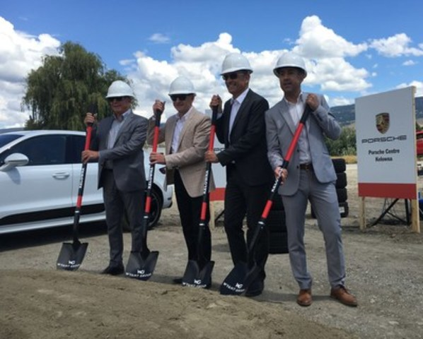 Notables were on hand for the symbolic ground breaking of Porsche Centre Kelowna on July 13, 2016. Pictured (left to right) John Bokitch, Porsche Centre Kelowna General Manager, Vaughn Wyant, President and CEO of Wyant Group, Alexander Pollich, President and CEO of Porsche Cars Canada, Ltd., and Colin Basran, Mayor of Kelowna. (CNW Group/Porsche Cars Canada)