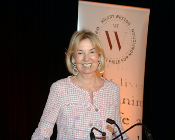 Hon. Hilary M. Weston announces the nominees for the $60,000 Hilary Weston Writers' Trust Prize for Nonfiction at an event at Loblaws at Maple Leaf Gardens in Toronto. (CNW Group/The Writers' Trust of Canada)