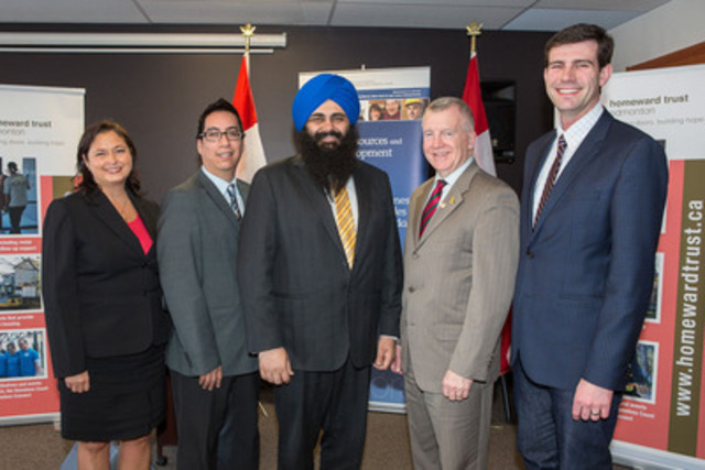 Ms. Susan McGee, Executive Director, Homeward Trust Edmonton; Mr. Clayton Kootenay, Chair, Homeward Trust Edmonton; Minister of State Uppal; the Honourable Laurie Hawn, Member of Parliament for Edmonton Centre; and Mr. Don Iveson, Edmonton City Councillor. (CNW Group/Human Resources and Skills Development Canada)