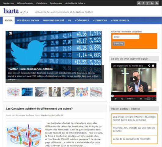 Isarta lance Isarta Infos, une plateforme d'informations pour les professionnels des communications et du Web. (Groupe CNW/Isarta Inc.)