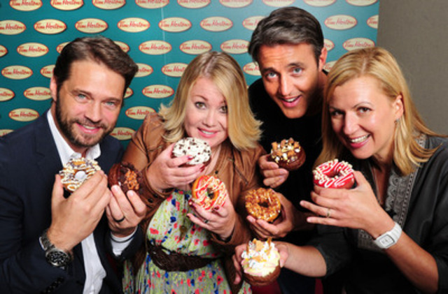 Jason Priestley, Jann Arden, Ben Mulroney and Anna Olson had the difficult task of narrowing eight finalists down to four, as part of Tim Hortons Duelling Donuts contest. Today, Tim Hortons opens the polls, allowing the public to decide the ultimate champion. Vote daily at: DuellingDonuts.ca. (CNW Group/Tim Hortons)