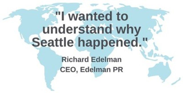 It began as a simple idea; while witnessing an anti-globalization protest of 40,000 people in Seattle, Edelman wanted to understand why these people didn't trust the government and other large corporations and institutions, the sort of enterprises and businesses that his company represented. (CNW Group/CNW Group Ltd.)