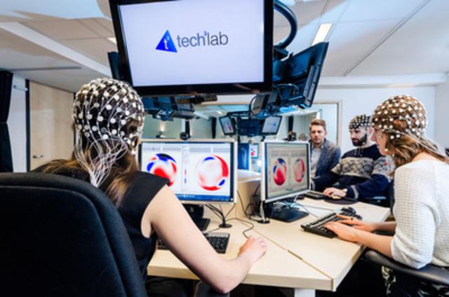Personnes participant à un projet de recherche mené dans la salle de groupe du Tech3Lab de HEC Montréal  (Groupe CNW/Sobeys Québec)