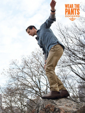 Bear Grylls Wears the Alpha Khaki in the Dockers, 2012 Wear The Pants Ad Campaign (CNW Group/Dockers)