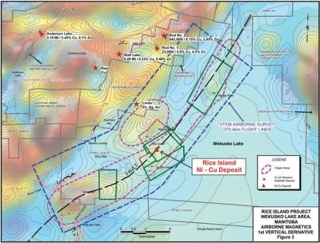 Figure 3: RICE ISLAND PROJECT - WEKUSKO LAKE AREA, MANITOBA AIRBORNE MAGNETICS (CNW Group/Wolfden Resources Corporation)