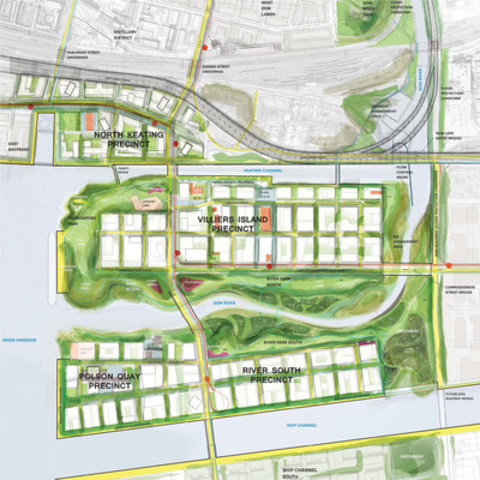 Overhead view of Don Mouth Naturalization and Port Lands Flood Protection Project (CNW Group/Waterfront Toronto)