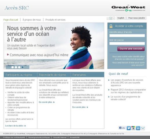Accès SRC se dévoile : une toute nouvelle apparence, une navigation améliorée et une fonction d'ouverture de session à chacune des pages (Groupe CNW/La Great-West, compagnie d'assurance-vie)