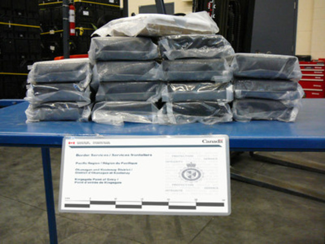 Border services officers intercepted approximately 15 kilograms of suspected cocaine at the Kingsgate port of entry on July 21, 2016. (CNW Group/Canada Border Services Agency)