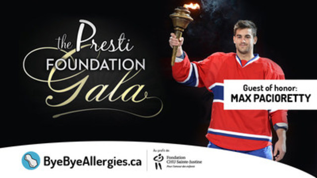 Max Pacioretty, Montreal Canadien Captain, Freeway Frank of Virgin Radio, Anna Liani singer for Cirque du Soleil, and DJ YO-C will be, this Friday Nov. 11, at the Fondation Presti Gala to fundraise to help www.ByeByeAllergies.ca and the CHU Sainte-Justine Foundation (CNW Group/ByeByeAllergies.ca)
