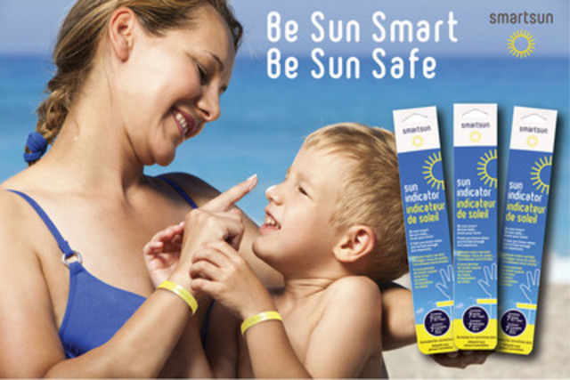 smartsun UV wristband changes colour to let you know when to apply more sunscreen and when you`ve had enough sun. Suitable for sensitive skin - Waterproof - Reacts to UVA and UVB rays - Now at Shoppers Drug Mart and Pharmaprix stores. www.smartsun.ca (CNW Group/TPS Promotions & Incentives)