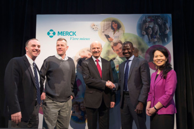 This morning at MaRS Discovery District, Merck confirmed its commitment to research and innovation with a $7.5 million contribution to the Structural Genomics Consortium Toronto. (From left to right) Dr. Ronan O?Hagan, Dr. Aled Edwards, The Honourable Reza Moridi, Mr. Chirfi Guindo and Ms. Jennifer Chan. (CNW Group/Merck)