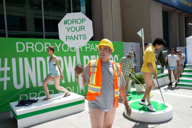 "Depend brand kicks off ""Underwareness"" at Yonge and Bloor in Toronto, Wednesday, August 6, 2014, to support millions who experience bladder leakage. (The Canadian Press Images PHOTO/Depend brand)  (CNW Group/Depend)"