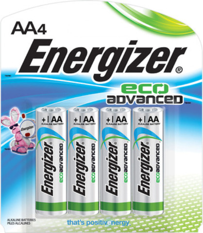 Energizer® EcoAdvanced(TM), the world's first AA battery made with four percent recycled batteries. (CNW Group/Energizer Canada)