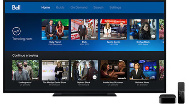 Bell Fibe TV the first Canadian television service available on Apple TV (CNW Group/Bell Canada)