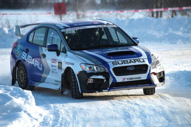 Subaru Rally Team Canada wins the first round of the 2015 Canadian Rally Championship. (Photo courtesy of Phil Ericksen / Radikal Videos.) (CNW Group/Subaru Canada Inc.)