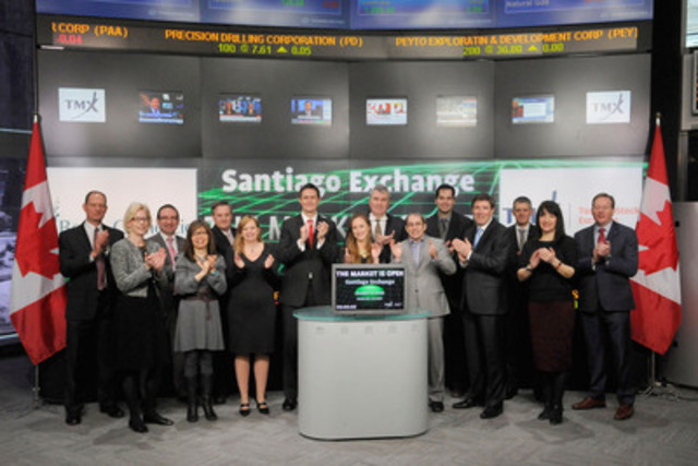 Nicolas Almazan, Chief Business Development Officer, Santiago Stock Exchange joined John McCoach, President, TSX Venture Exchange to open the market to celebrate the launch of a new venture market in Chile: the Santiago Stock Exchange, Venture. (CNW Group/TMX Group Limited)