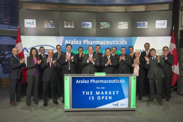 Adrian Adams, CEO, Aralez Pharmaceuticals Inc. (ARZ), joined Loui Anastasopoulos, Vice President, TSX Company Services, Toronto Stock Exchange & TSX Venture Exchange to open the market. Headquartered in Ontario, Canada Aralez Pharmaceuticals is a global specialty pharmaceutical focused on the acquisition, development and commercialization of products primarily in cardiovascular, pain and other specialty areas. Aralez Pharmaceuticals Inc. graduated from TSX Venture Exchange and commenced trading on Toronto Stock Exchange on February 9, 2016. Aralez Pharmaceuticals was the second-best performing company in the Clean Technology & Life Sciences sector on the 2016 TSX Venture 50. For more information, please visit www.aralez.com. (CNW Group/TMX Group Limited)