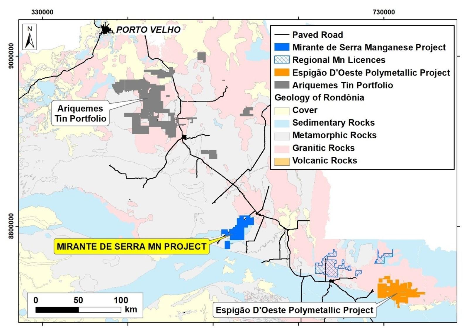 Fig. 1: Regional map of the Mirante da Serra with Espigão operations and the shipping port of Porto Velho.