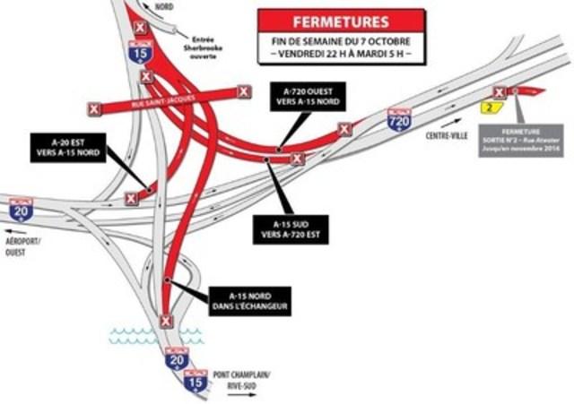 Fermeture - Démantèlement section 4 pont Saint-Jacques (Groupe CNW/Ministère des Transports, de la Mobilité durable et de l'Électrification des transports)