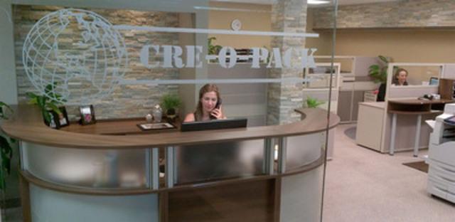 Cré-O-Pack a complété des travaux majeurs de rénovation et de réorganisation de ses bureaux. Les travaux ont nécessité un investissement de 325 000 $ et ont été réalisés selon une démarche de gestion à valeur ajoutée (GVA). (Groupe CNW/Cré-O-Pack)