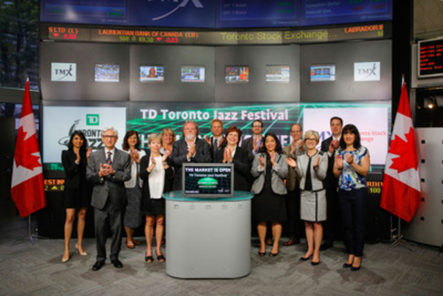 Patrick Taylor, Executive Producer, TD Toronto Jazz Festival joined Eleanor Fritz, Director, Compliance and Disclosure, TMX Group to open the market to celebrate the 29th annual TD Toronto Jazz Festival. The Festival will run June 18 -29, 2015 and will feature more than 350 performances with over 1500 musicians performing at approximately 40 locations around Toronto. The heart of the Festival this year will be located at Nathan Philips Square. For more information please visit torontojazz.com (CNW Group/Toronto Stock Exchange)