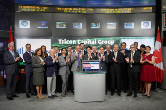 Gary Berman, President & CEO, Tricon Capital Group Inc. (TCN) joined Steven Mills, Regional Head, TSX Company Services, Toronto Stock Exchange & TSX Venture Exchange to open the market to celebrate five years as a Toronto Stock Exchange listed company. Tricon Capital Group is an asset manager and principal investor focused on the residential real estate industry in North America. Tricon owns a portfolio of U.S. single-family rental homes, manufactured housing communities and multi-family properties. Tricon Capital Group commenced trading on May 20, 2010. (CNW Group/Toronto Stock Exchange)