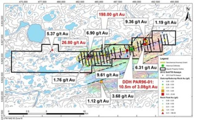 Figure 1a : Carte des résultats pour l'or dans des échantillons choisis de roche – programme de prospection 2015 à Qiqavik et résultats historiques (Groupe CNW/Corporation Royal Nickel)